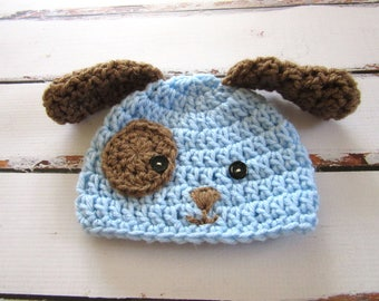 Baby Puppy Hat, Baby Dog Hat, Newborn Puppy Hat, Baby Halloween Hat, Baby Hat, Baby Boy Hat, Baby Animal Hat, baby Boy Gift, Newborn Hat,