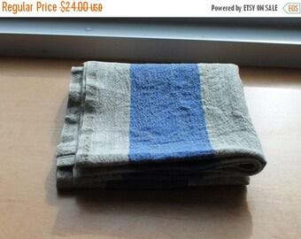 Sale Rustic Linen Table Runner Table Linens Wide Striped Blue Beige Prewashed Heavy Linen