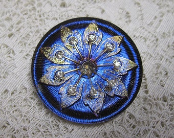 Large Vitrial Blue Purple Pink Gold Button Czech Glass Art Deco Starburst Flower Design Criss Cross Hole 38mm