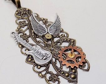 Steampunk jewelry. Steampunk guitar pendant necklace.