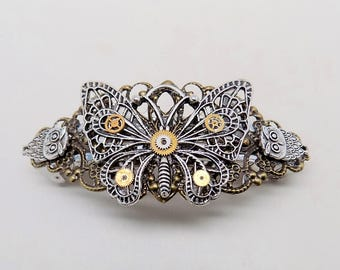 steampunk jewelry, Steampunk butterfly hair barrette.