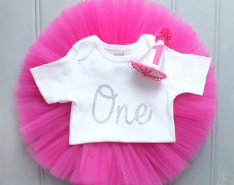First Birthday Outfit Girl, Cake Smash Outfit Girl, 1st Birthday Outfit, Hot Pink and Silver, Tutu Skirt Set, 1st Birthday Tutu, Baby Girl