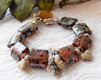 Sale.......One of a kind Lampwork Glass, Sterling Silver, Ceramic & Czech Glass Plus Size Bracelet