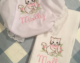 Embroidered Vintage Kitten Name Monogrammed Burp or Bloomers Diaper Cover Panty Baby Child