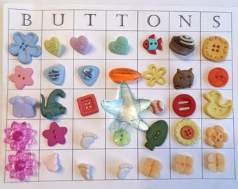 35 Fun Unique Buttons for Crafts, Scrapbooking, Cardmaking, Sewing