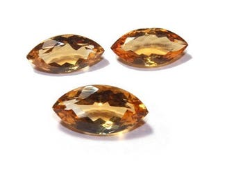 55% OFF SALE 3 Pcs Set AAA Natural Citrine Faceted Marquise Cut Gemstones 12x6 - 16x7.5 mm Match Pair & a Focal Pendant- Citrine Trio Ct19