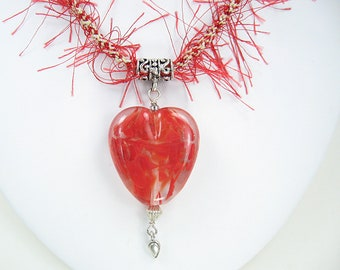 Handmade Kumihimo Necklace with Lampwork Heart   Red Fuzzes