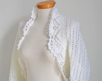 White crochet shrug , P513