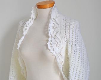 White crochet shrug , P513