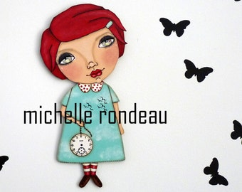 Original Wooden Doll Red Hair Whimsical Girl Painting