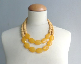 chunky yellow necklace double strand