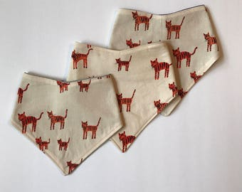 READY to SHIP / LAST Sunday West - absorbent bandana bibs for baby - snap closure - tigers - free shipping