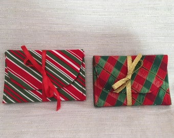 Candy Cane Stripe or Christmas Plaid Gift Card Holder Case Set of Two
