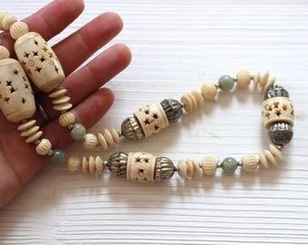 Vintage carved bone necklace