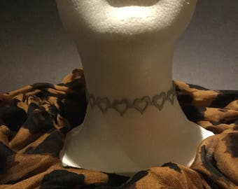 Handmade Gray Grey Silver soft open heart choker necklace.