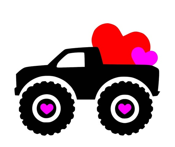 Hearts Truck Big Tires Svg Studio3 Pdf Png Jpg Dxf