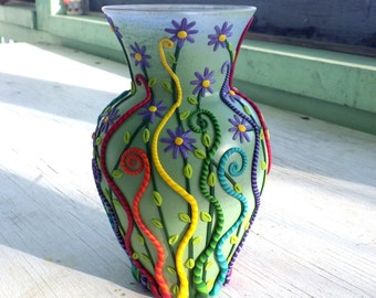 Adorable Rainbow Tendril Spring Vase made with Polymer Clay and Recycled Glass in Sage Green