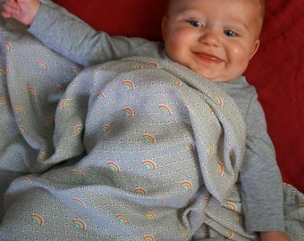 """Rainbow - 1 Single Layer Swaddles 50""""x50"""" made from Bamboo, muslin, nursing cover, large size light weight blanket"""