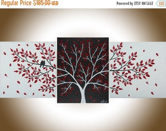 "Contemporary wall art white black red Set of 3 love birds painting wall decor Palette Knife canvas art ""Passionate Love"" by qiqigallery"