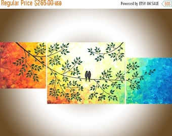 """Contemporary wall art rainbow color art set of 3 Painting acrylic love birds painting canvas painting """"The Sun Shines on Us"""" by qiqigallery"""