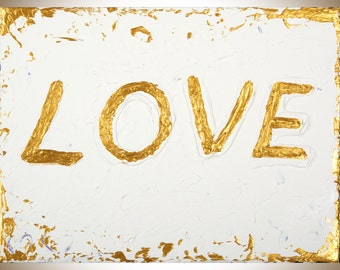 """Love sign beige gold Acrylic painting on canvas wall decor textured impasto wall art gift for men gift for her """"Love"""" by qiqigallery"""