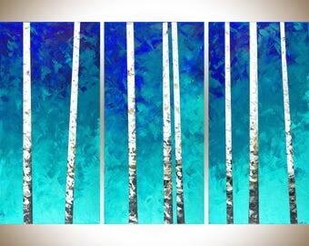 Extra large wall art birch wall art 54x36 painting on canvas teal blue white home office wall decor by qiqigallery