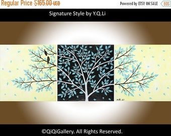 """yellow black blue birds art Set of 3 Acrylic Impasto Palette Knife canvas art wall decor wall hanging""""Life Is Beautiful"""" by qiqigallery"""