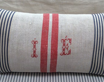 European Vintage Monogramed GRAINSACK Pillow/French Cottage/Down and Feather/Paris Shabby Chic/Industrial Loft/Throw PiLLoW/Lumbar