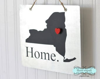New York State Silhouette Home Sign Magnet board with Chalkboard State and Red Heart Magnet