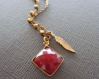 Ruby Square Pyrite Gold Necklace/Gold Ruby Feather Necklace/Ruby Square Diamond Bezel/July Birthstone /Red Stone Feather Necklace//G12