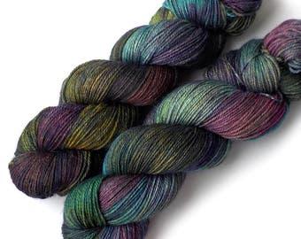 Hand Dyed Yarn Alpaca Silk Cashmere Sock Yarn Fingering, 435 yards - Graphic Novel