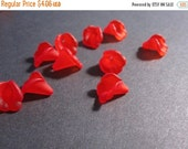 50% Off Bead Caps, Red Frosted Acrylic Lilly flower bead Caps, 10x10mm Calla 25 pcs BC0179