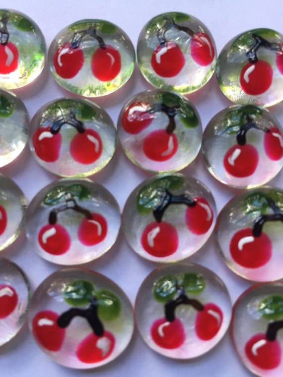 Hand painted glass gems party favors mini art  CHERRIES CHERRY fruit