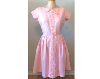 Vintage early 60s Dress in a Pretty Pink Cotton S by Windsor Dress NOS