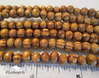 Wood Beads, 6mm Round, Light Brown, Natural Stripe Wooden, 1mm Hole, 15.5 Inch Strand, QTY 1 - wb121