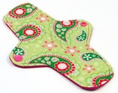 "8"" Ultrathin Pantyliner - Reusable Cloth winged liner - Quilter's Cotton top - Pink Paisley"