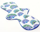13 inch Reusable Cloth Menstrual pad- MODERATE flow -bamboo core - Windpro - cotton flannel top- Blue Peacocks