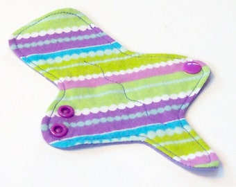 ULTRATHIN Reusable Thongliner Cotton Flannel Mini Pad with wings for Every Day - Washable Cotton Flannel -  Purple and Green Stripes