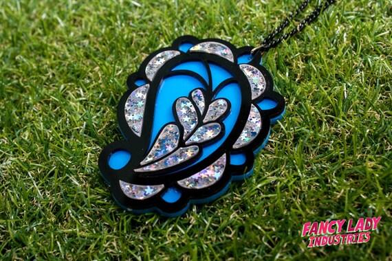 Blue Paisley Holographic Glitter Pendant Necklace, Paisley Jewelry, Holographic Glitter, Laser Cut Jewelry, Paisley Necklace.