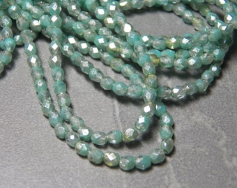 "Czech Mint Green ""Mercury"" Faceted Round Glass Beads 4mm (50) 097"