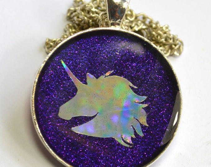 Unicorn Head Silhouette Holographic Holo Pendant