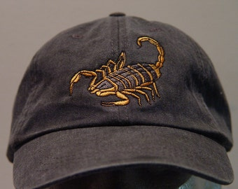 SCORPION WILDLIFE Hat - One Embroidered Men Women Arachnid Cap - Price Embroidery Apparel - 24 Color Caps Available