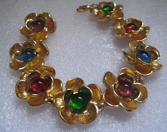 Andrew Spingarm Flowers Link Bracelet with Gripoix Poured Glass Centers 24K Gold Plated