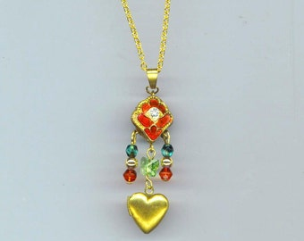 Enamel Necklace, Gold Plated Vintage Heart Locket Pendant, Red & Green Jewel, Two Sided Statement Necklace, Valentine'Day. Christmas Colors