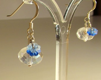 Crystal & Blue Flower Earrings