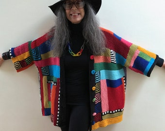 Hip Length Primary Colors Kimono Jacket Hand Knit One of a Kind Patchwork Stunning Cotton and Wool