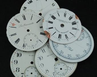 Distressed Shabby Chic Watch Dials Steampunk Faces Enamel Porcelain WC 59