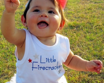 4th of July tank - Little Firecracker Tank - Perfect for your 4th of July little firecracker - sizes 6m to 3T are made and ready to ship