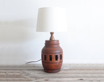 Midcentury Hand Carved Cherry Wood Lamp