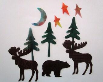 10 Woodland Large Set Iron On Appliques Moose Bears Trees Moon Stars
